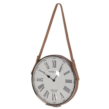 Chrome And Leather Wall Clock